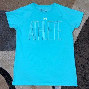 Girls Turquoise Under Armour Tee, Size YLG